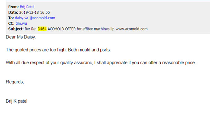 Customer feedback about injection mold cost