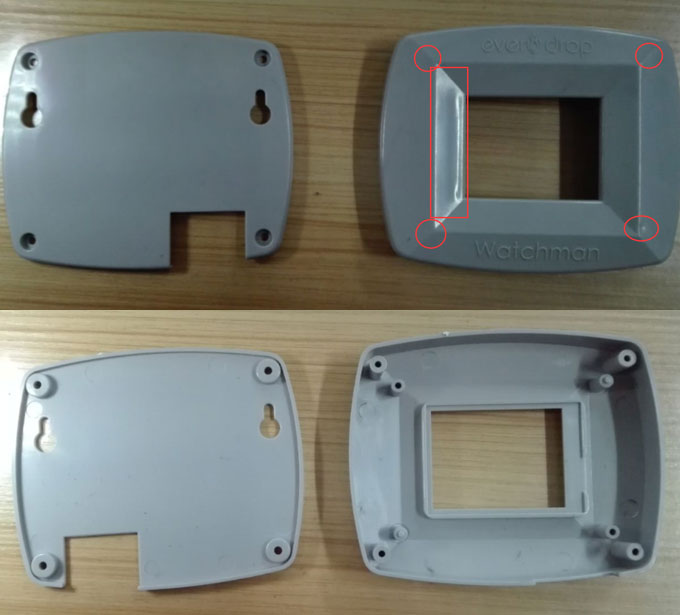Plastic protective case sink mark